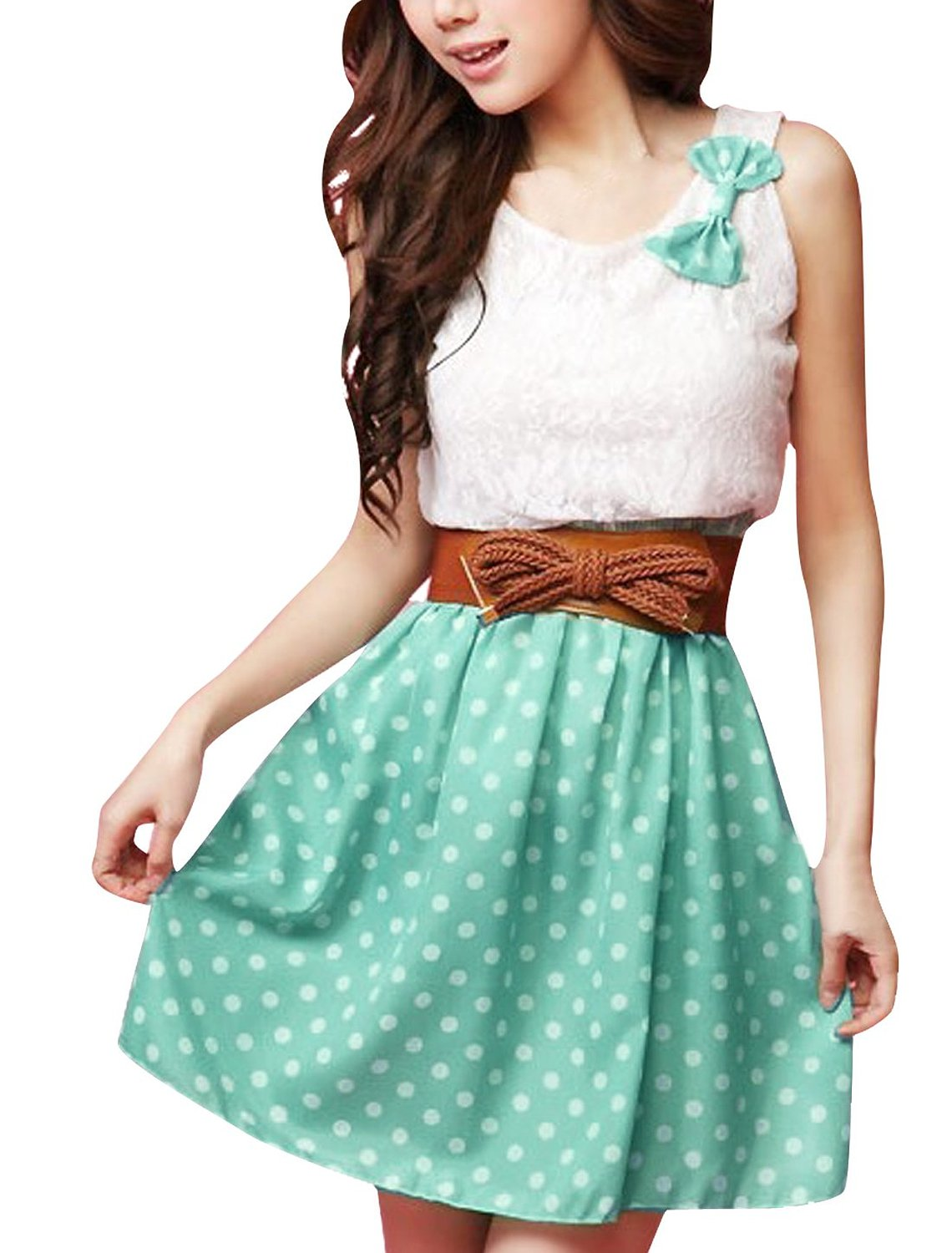 Lace Upper Detail Casual Dress w Belt at Amazon Womens Clothing store