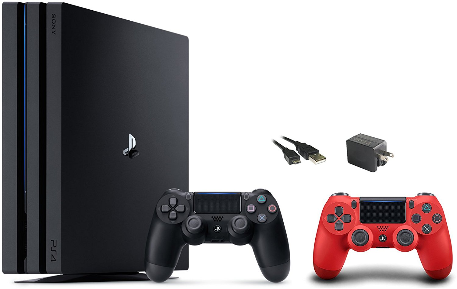 PlayStation 4 Pro Console 3 items Bundle:PS4 Pro 1TB Console,PS4 Dualshock 4 Wireless Controller Red,Mytrix Wal Charger Black