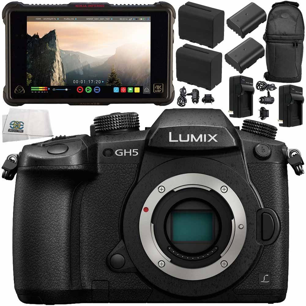 "Panasonic Lumix DC-GH5 Mirrorless Micro Four Thirds Digital Camera (Body Only) + Atomos Ninja Inferno 7"" 4K HDMI Recording Monitor 11PC Bundle - Includes 64GB SD Memory Card + MORE"