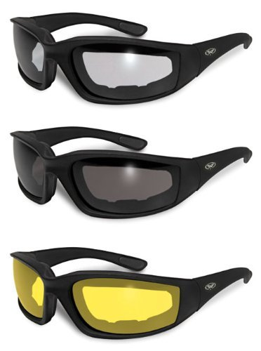 3 Pairs Kickback Foam Padded Motorcycle Sunglasses : Amazon.com