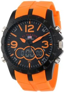 U.S. Polo Assn. Sport Men's US9057 Analog-Digital Black Dial and Orange Rubber Strap Watch: Watches
