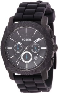 Fossil Men's FS4487 Black Silicone Bracelet Black Analog Dial Chronograph Watch: Watches