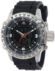 U.S. Polo Assn. Sport Men's US9047 Analog-Digital Black Dial Black Rubber Strap Watch: Watches