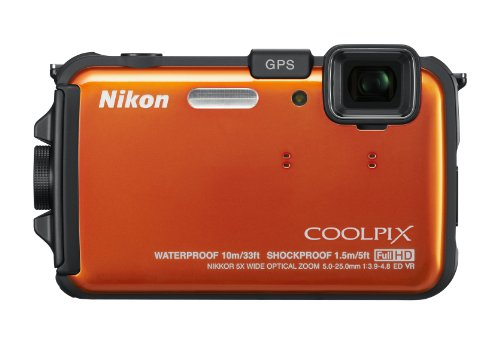 Nikon COOLPIX AW100 16 MP CMOS Waterproof Digital Camera with GPS and Full HD 1080p Video (Orange): NIKON