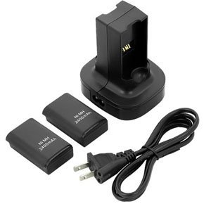WOWparts 2 Pack Xbox 360 Rechargeable Battery + Charging Station Black