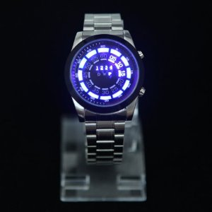 Clean Steel Blue Binary LED Men's Fashion Watch by TVG: Watches