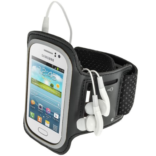 iGadgitz Black Reflective Anti-Slip Neoprene Sports Gym Jogging Armband for Samsung Galaxy Fame S6810 Android Smartphone Cell Phone