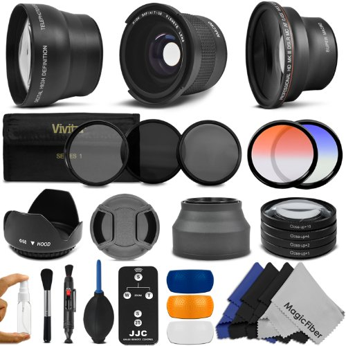 58MM Professional Accessory Kit for CANON EOS REBEL (T5i T4i T3i T2i T1i XT XTi XSi SL1) - Includes: 0.35x Super Wide Fisheye, 0.43x Wide Angle & 2.2x Telephoto Lenses + Remote Control + Vivitar Filter Kit (UV, CPL, ND8) + Vivitar Macro Close-Up Set + Tulip Lens Hood + Collapsible Lens Hood + Ce