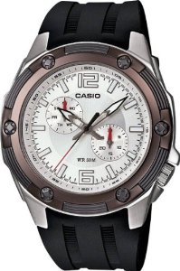 Casio Men's MTP1326-7A3V Black Resin Quartz Watch with Silver Dial: Watches