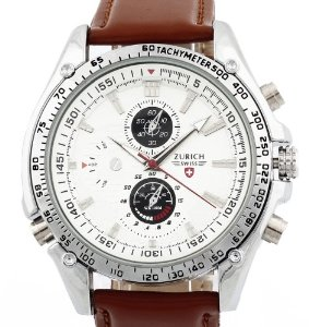 Men's Brown Leather Strap White Dial Quartz Movement Wrist Watch: Watches