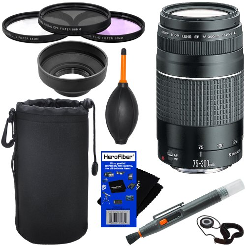 Canon EF 75-300mm f/4-5.6 III Telephoto Zoom Lens for Canon EOS series of Digital SLR Cameras + 10pc Bundle Deluxe Accessory Kit