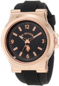 U.S. Polo Assn. Sport Men's USC90006 Rose Gold-Tone and Black Silicone Strap Watch