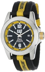 CAT Men's YA14163134 Big Twist Black Analog Dial with a Black and Yellow Nylon Strap Watch: Caterpillar CAT