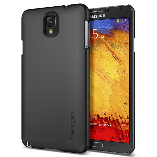 [Non-Slip] Spigen Samsung Galaxy Note 3 Case Slim [Ultra Fit] [Smooth Black] Rubbery Feel Non-Slip Grip Matte Hard Case for Galaxy Note III - ECO-Friendly Packaging - Smooth Black (SGP10441)