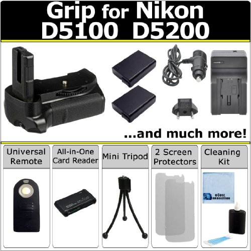 Amazon.com : eCost Professional D5100 D5200 Multi-Purpose Battery Grip for Nikon D5100 D5200 DSLR Camera + 2 EN-EL14 Long Life Batteries + AC/DC Turbo Charger With Travel Adapter + Universal Wireless Remote + All-In-One Card Reader + Complete Deluxe Starter Kit (BG-N6 BGN6) : Digital Camera Battery