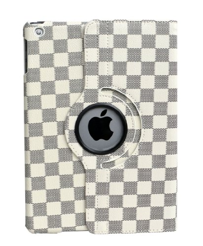 inShang� Checker Damier smart case/cover/stand for iPad Air / iPad 5 With auto sleep/wake function (FOR IPAD AIR, Grey/White)