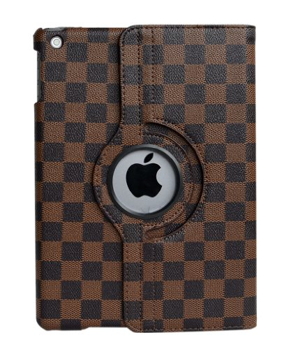 inShang� Checker Damier smart case/cover/stand for iPad Air / iPad 5 With auto sleep/wake function (FOR IPAD AIR, Black/Brown)