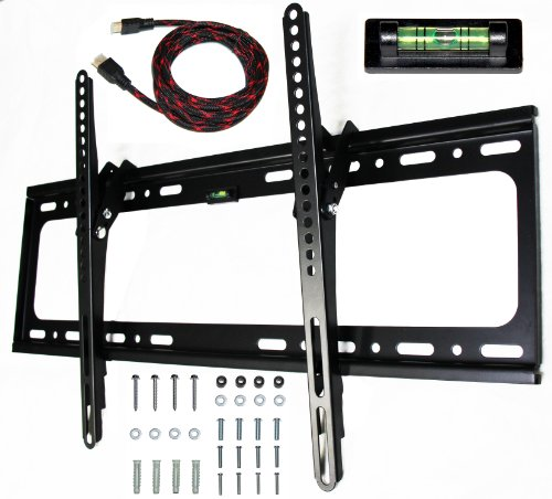 "E-OnSale Universal Mounts Flush Tilt Dual Hook (1.3"" from wall) Flat Screen TV Wall Mount Bracket for 32-65 inch Plasma, LED, and LCD TVs Up To VESA 700x400 and 165lbs, Including 10' Braided High Speed HDMI Cable and Magnetic Bubble Level TV Mount T65"