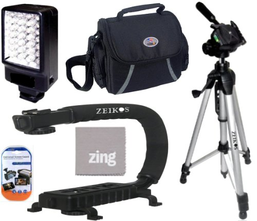 Amazon.com : Deluxe 5500K LED Video Light + Video Bracket Action Stabilizing Handle + Soft Medium Camcorder Case + 57 Inch Tripod For Sony DCR-SR68 DCR-SR88 DCR-SX15 DCR-SX21 DCR-SX44 + More!!