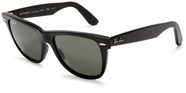 Ray-Ban RB2140 Original Wayfarer Sunglasses 50 mm,Black frame/Crystal Green Polarized lens: Ray-Ban