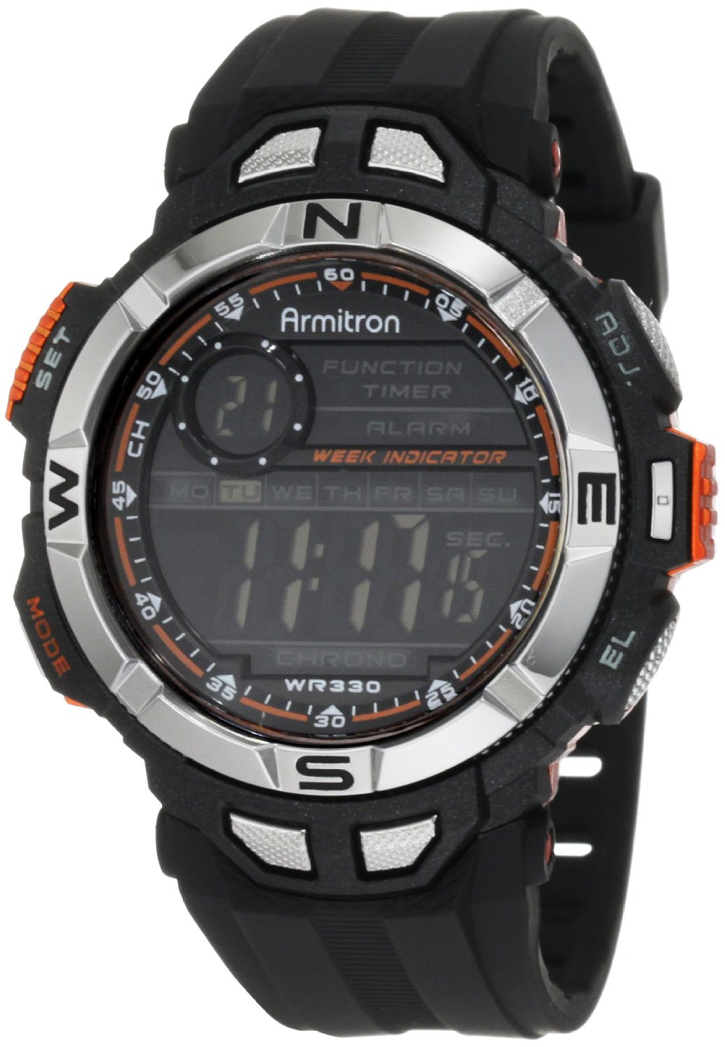 Armitron Sport Men's 408233ORG Chronograph Multi-Function Orange Accented Black Resin Watch