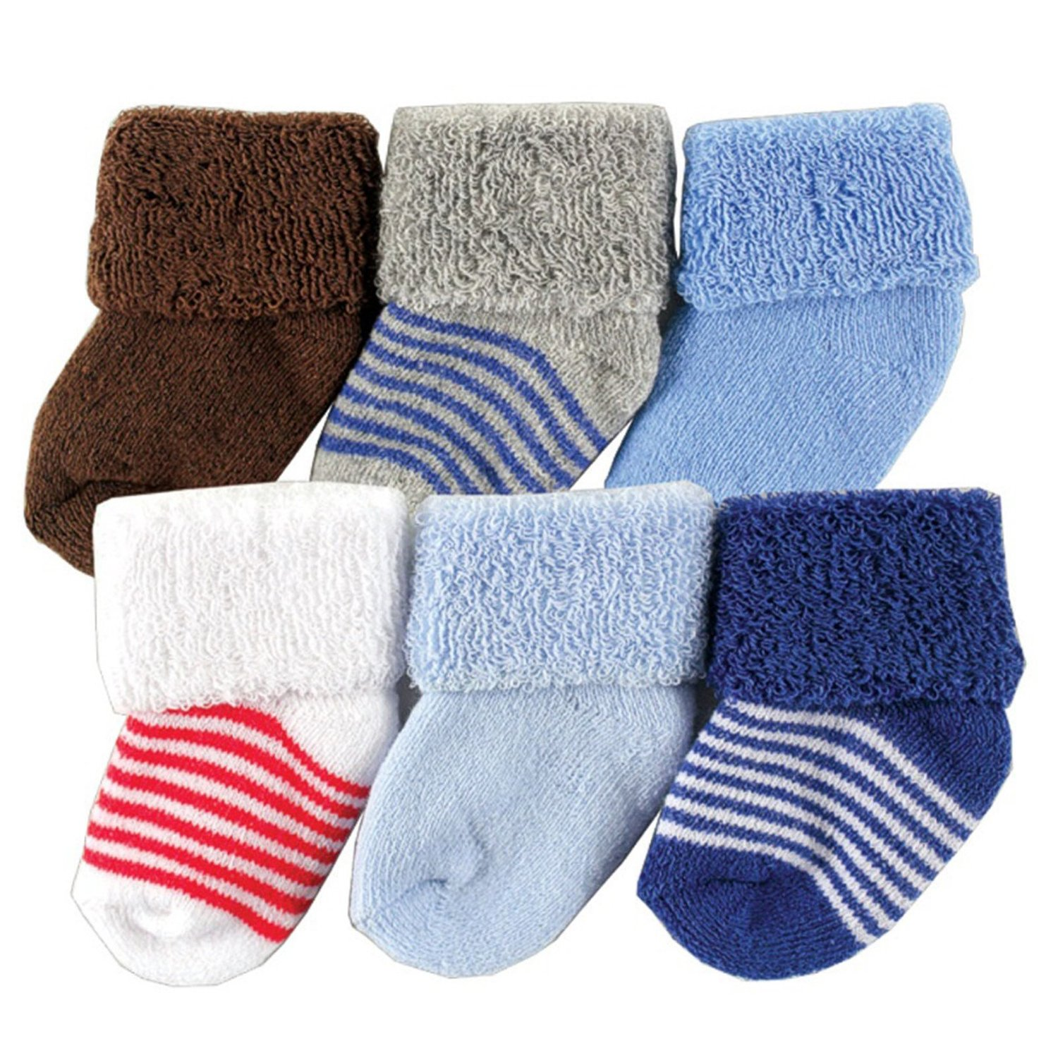 Luvable Friends Newborn Baby Socks 6 Pack, 0-6 Months, Blue: Infant And Toddler Socks