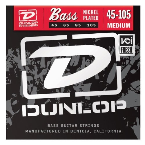 Jim Dunlop 2PDBN45105 Bass Strings, Medium, Nickel, 4-String, 2-Pack
