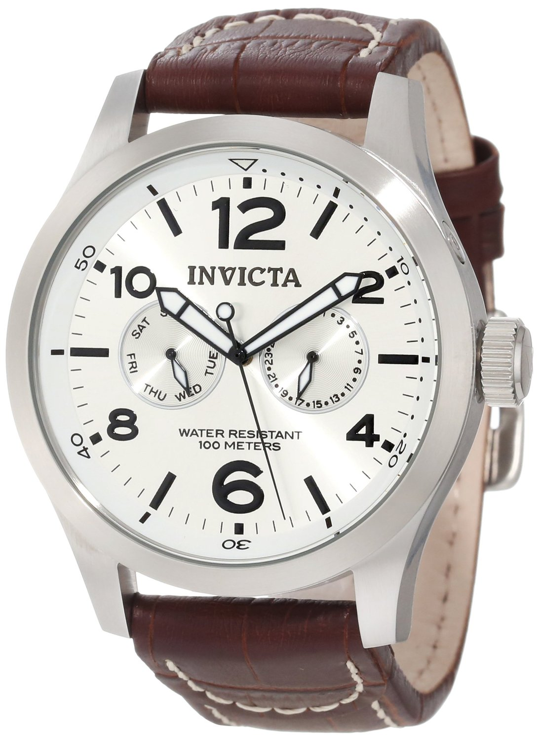 Invicta Men's 0765 II Collection Silver Dial Brown Leather Watch: Invicta
