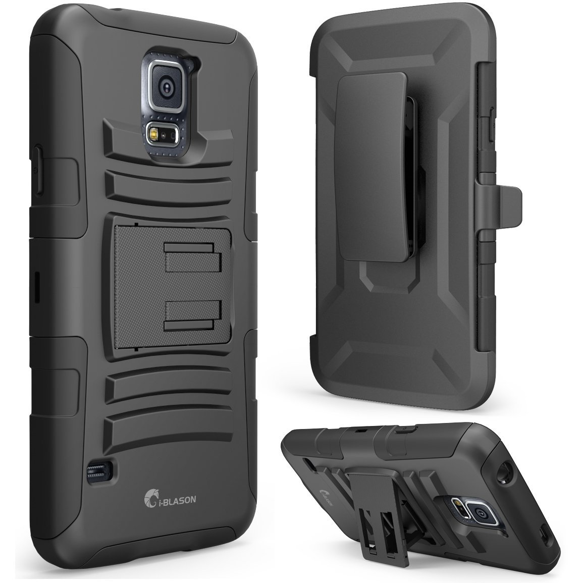 i-Blason Samsung Galaxy S5 Case - Prime Series Dual Layer Holster Case with Kickstand and Locking Belt Swivel Clip (Samsung Galaxy S5, Black)