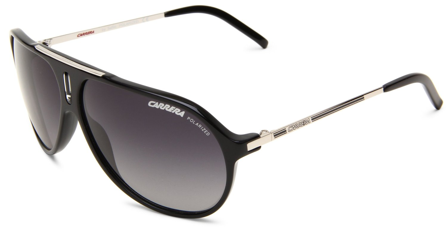 Carrera Hot/P/S Polarized Aviator Sunglasses,Black & Palladium Frame/Grey Shiny Polarized Lens,One Size