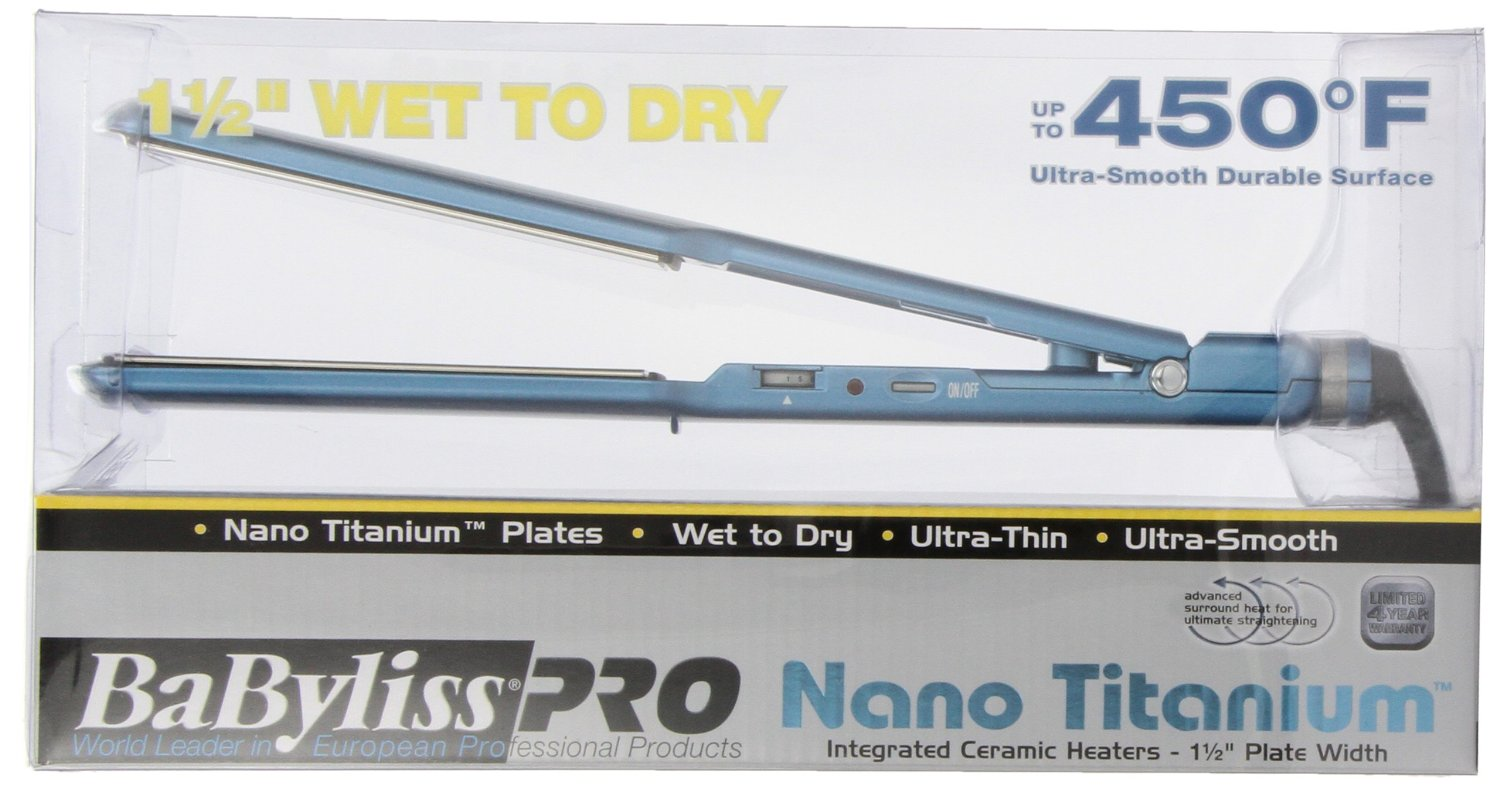 Amazon.com : BaByliss Pro BABNT5073T Nano Titanium-Plated Wet-To-Dry Hair Ultra-Thin Straightening Iron, 1.5 Inch