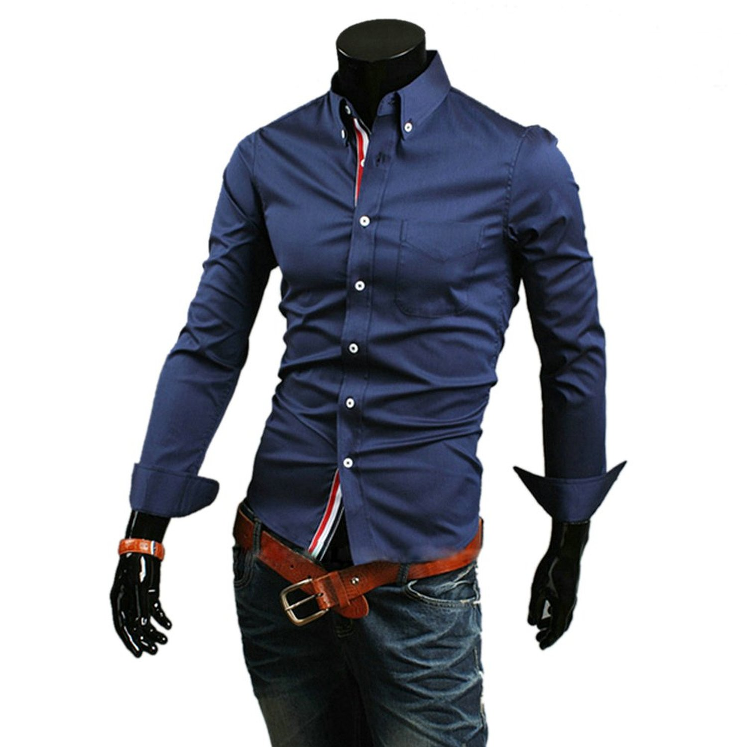 Zehui Mens Stylish Casual Slim Fit Shirt Long Sleeve T-shirts Button Front Tops at Amazon Men�s Clothing store