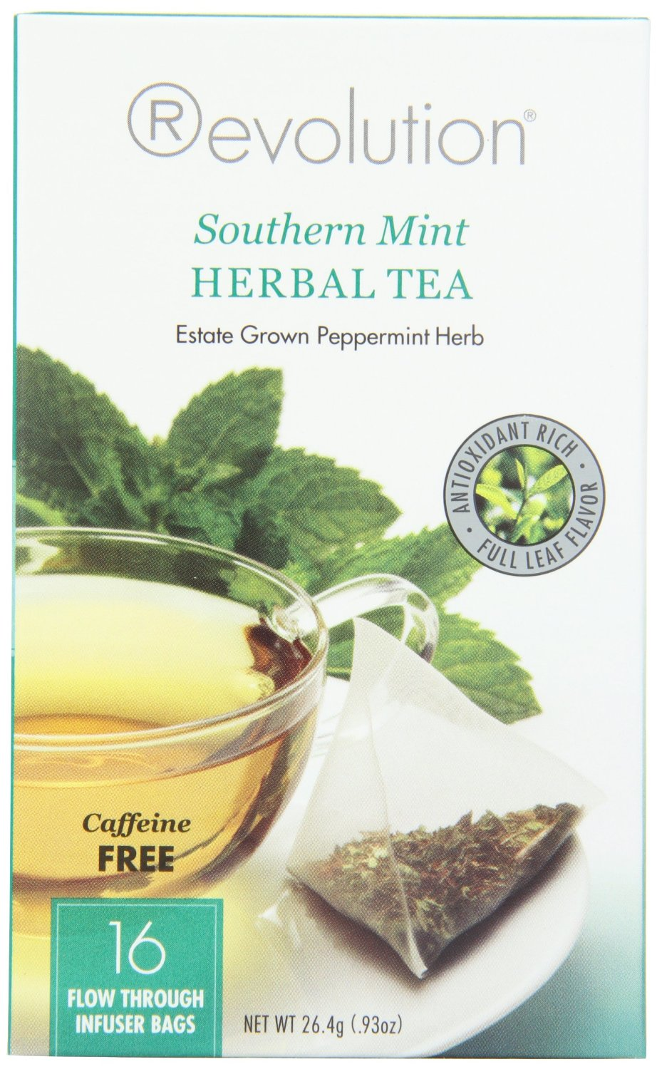 Amazon.com : Revolution Tea Southern Mint Herbal Tea, Caffeine Free, 16-Count Teabags (Pack of 6) : Green Teas