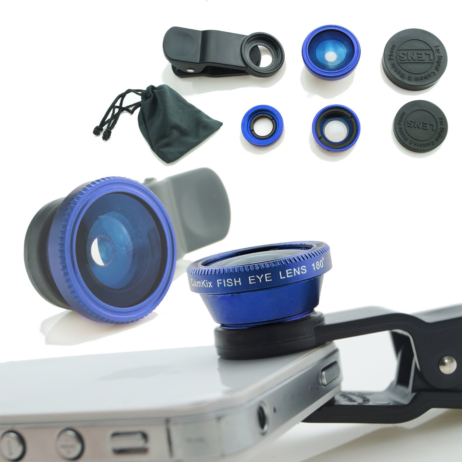 Universal 3 in1 Camera Lens Kit for Smart phones includes One Fish Eye Lens / One 2 in 1 Macro Lens and Wide Angle Lens / One Universal Clip / One Microfiber Carrying Bag / with Camkix� Retail Packaging - Compatible with iPhone, Samsung Galaxy, HTC, Motorola, Tablets, iPad, and Laptops (Blue)