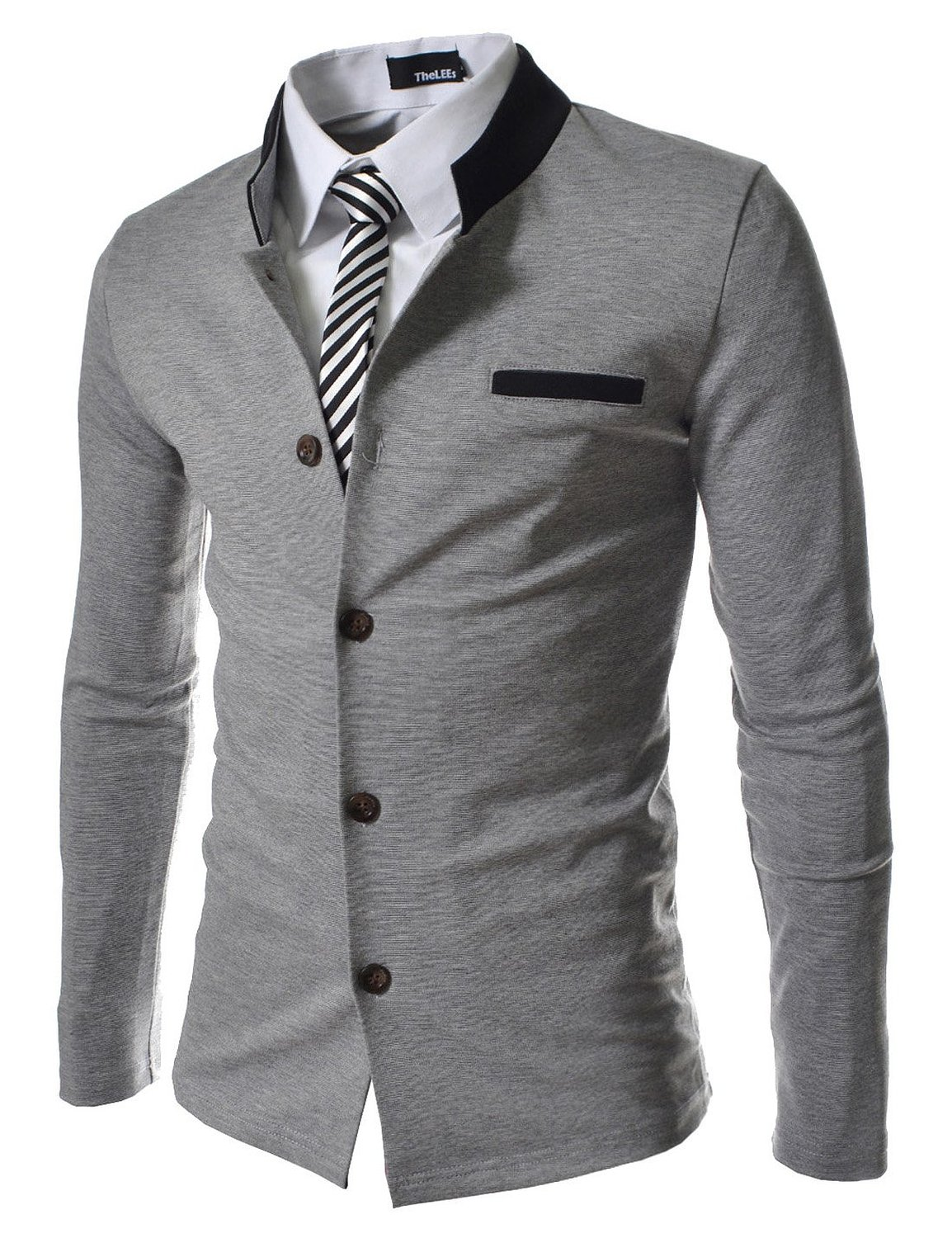 TheLees (GD135) Mens Slim Fit 2 Tone China Collar Cardigan Gray Medium(US Small) at Amazon Men�s Clothing store