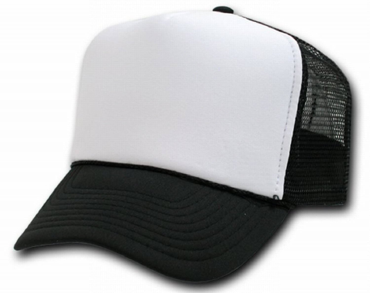 BLACK AND WHITE MESH TRUCKER STYLE CAP HAT CAPS HATS ADJUSTABLE