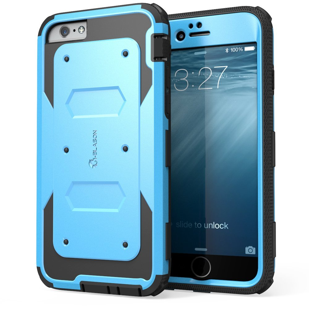 iPhone 6 Case, [Heavy Duty] i-Blason Apple iPhone 6 Case 4.7 inch (Slim Fit) Armorbox ** Dual Layer Hybrid** Full-body Protective Case with Front Cover and Built-in Screen Protector [Impact Resistant Bumpers] for iPhone 6 (Blue)