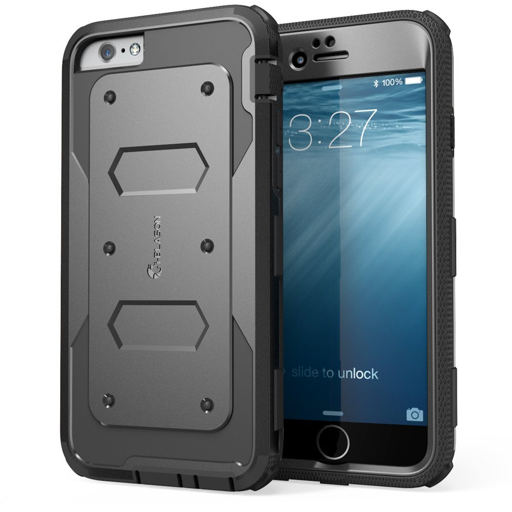 iPhone 6 Case, [Heave Duty] **Slim Protection** i-Blason Apple iPhone 6 Case 4.7 inch Armorbox [Dual Layer] Hybrid Full-body Protective Case with Front Cover and Built-in Screen Protector / Impact Resistant Bumpers Cover for iPhone 6 (Black)