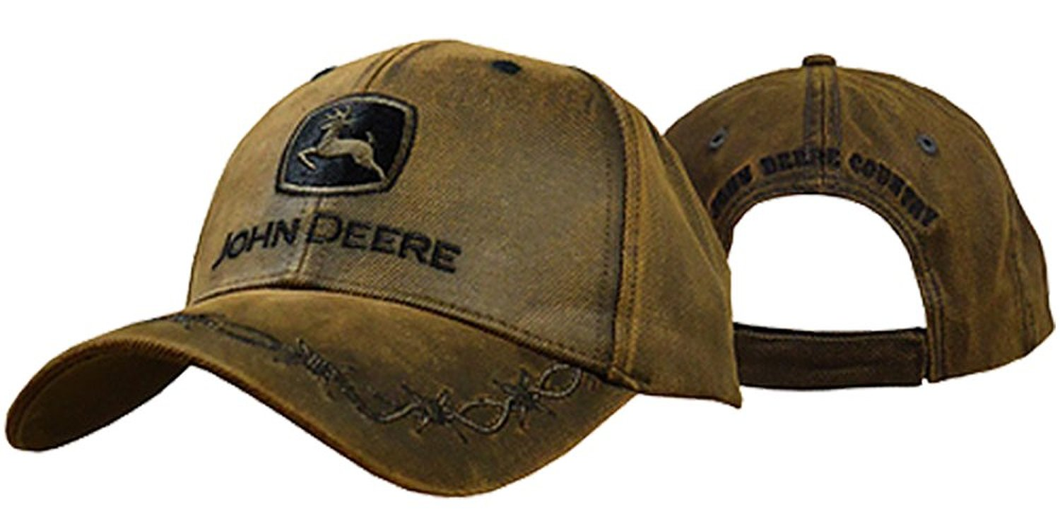John Deere Men s Oilskin Look Patch Casual Cap Brown One Size at Amazon  Men s Clothing store af7b8c0f6ca