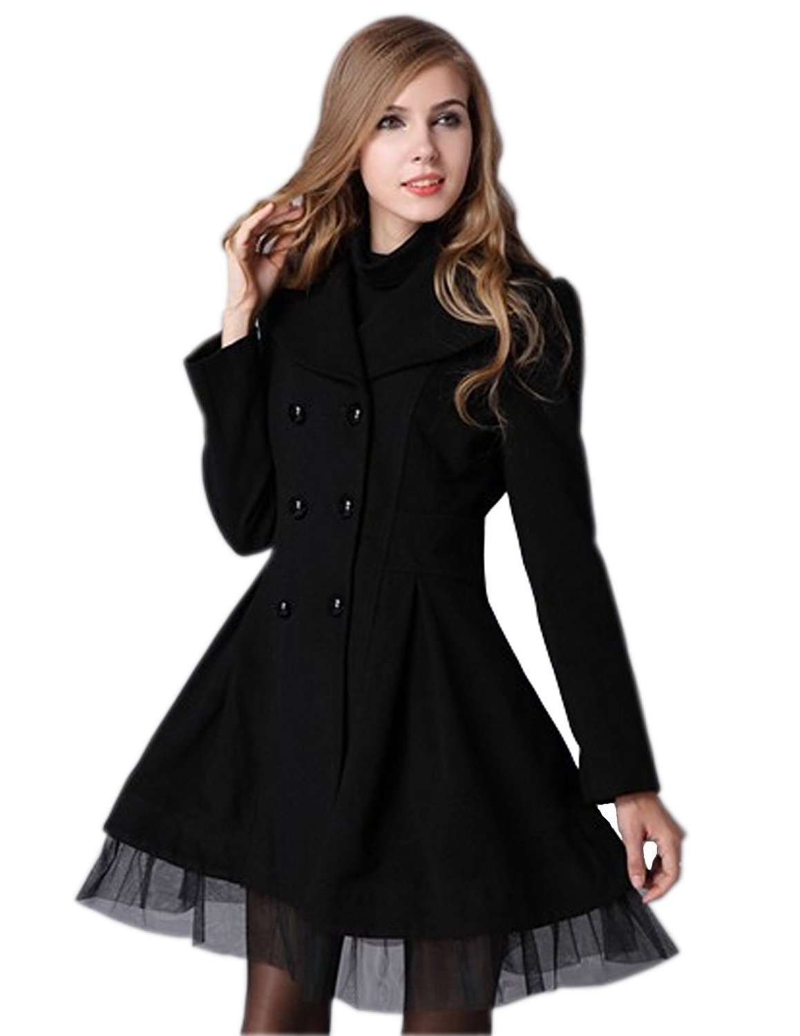 Woman Slim Fit Double Breasted Lapel Trench Wool Coat Jacket at Amazon Women's Coats Shop