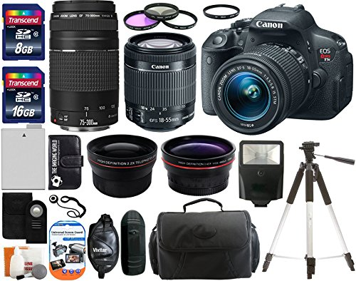 Amazon.com : Canon EOS Rebel T5i 18.0 MP CMOS Digital Camera SLR Kit With Canon EF-S 18-55mm IS STM + Canon 75-300mm III Lens + Wide-Angle Lens + Telephoto Lens + 8GB and 16GB Card + Card Reader + Case + Battery + Flash + Tripod + Remote + 58mm Filter Kit - 24GB Deluxe Accessories Bundle : Digital S