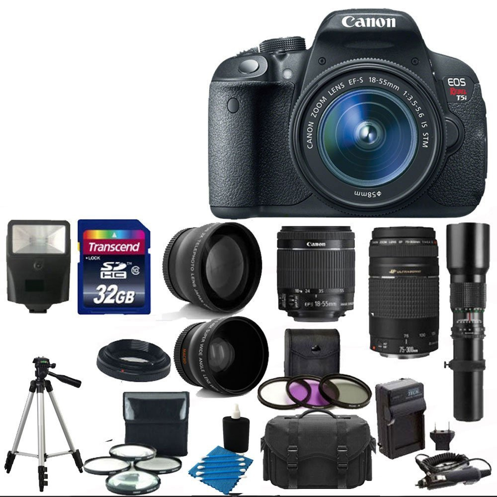 Amazon.com : Canon EOS Rebel T5i 18.0 MP CMOS Digital Camera Body and EF-S 18-55mm F3.5-5.6 IS STM With Canon Zoom Telephoto EF 75-300mm f/4.0-5.6 III Autofocus Lens + Telephoto 500mm f/8.0 T- Mount Lens (Long) With 58mm 2x Professional Lens +High Definition 58mm Wide Angle Lens + Auto Flash + Uv Fi