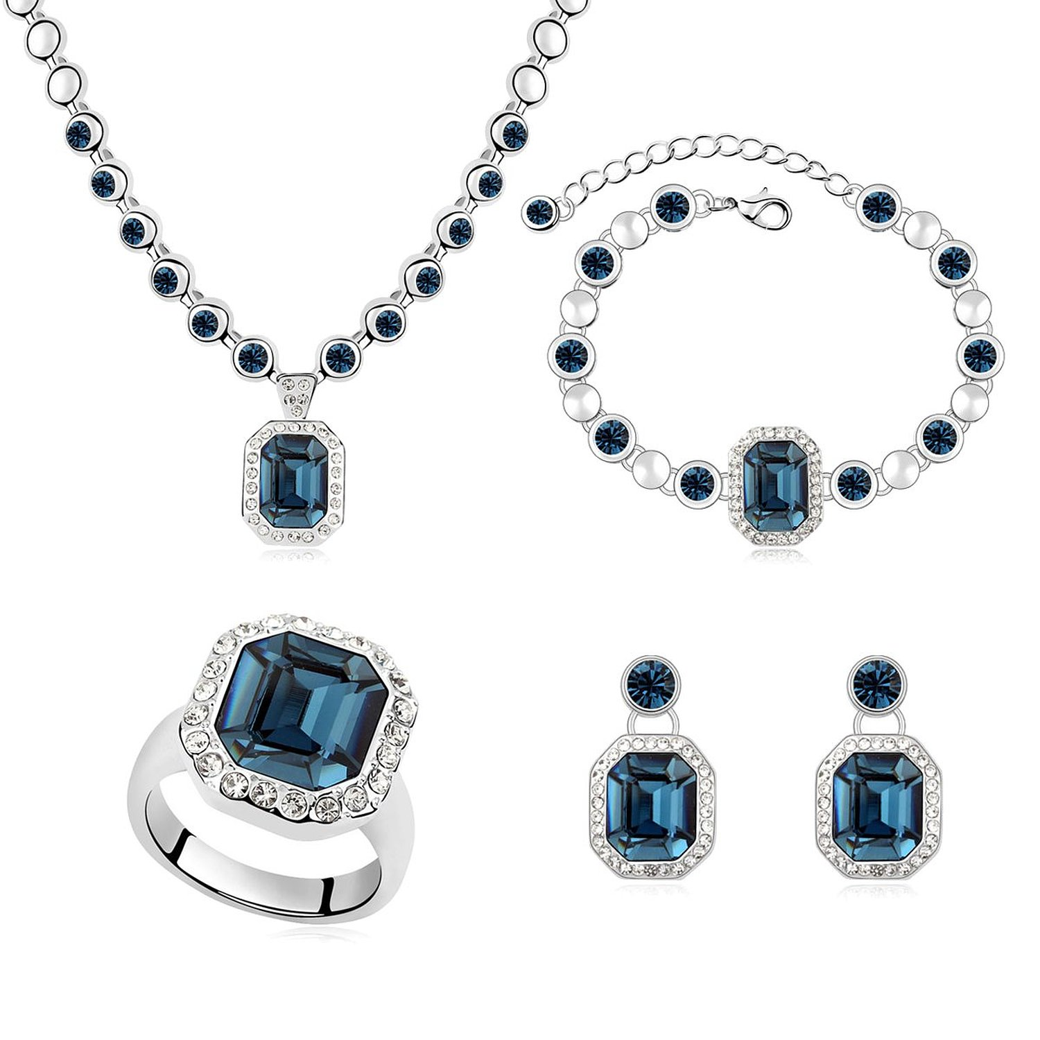 "Mondaynoon ""Rhein"" Swarovski Elements Women's Jewelry Set, Australia Imported Crystal Necklace, Bracelets, Earrings and Ring Set (Dark Blue)"