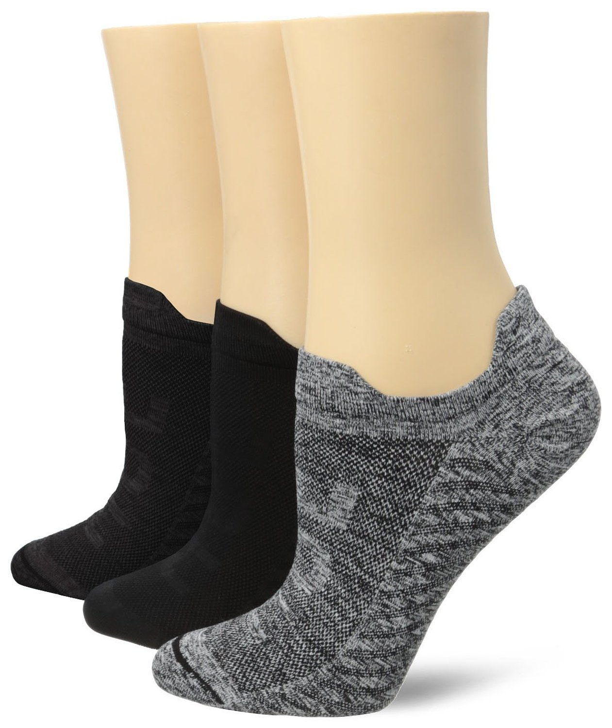 Hue Women's Air Sleek Front and Back Tab 3 Pack Athletic Socks, Black, One Size at Amazon Women's Clothing store
