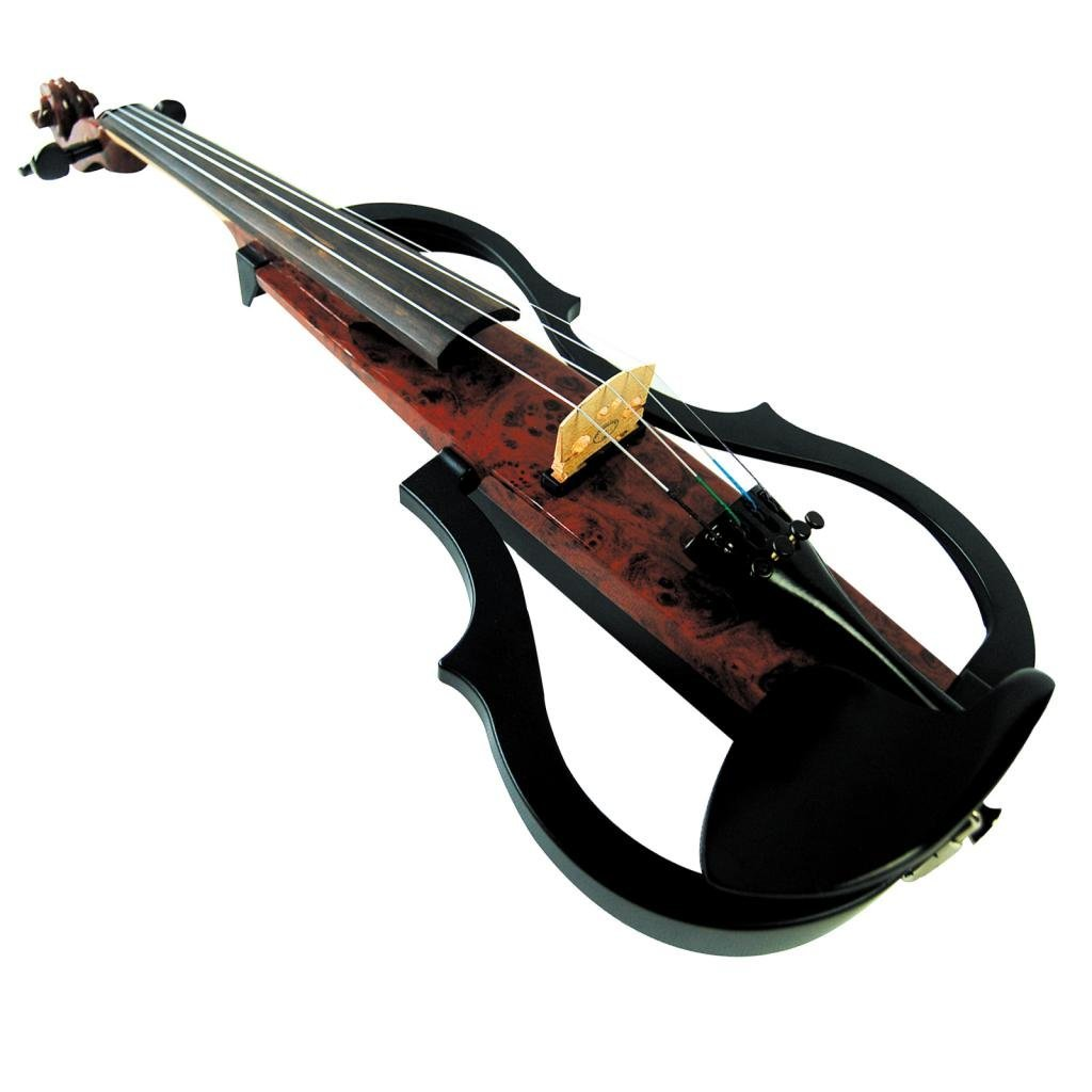 Kinglos 4/4 Full Size Ebony Fitted Solid Wood Colored 3 Band EQ Electric Violin with Case, Bow, Rosin, 4m Cable, Earphone, 9V Battery, Special Shoulder Rest (SDDS1601)