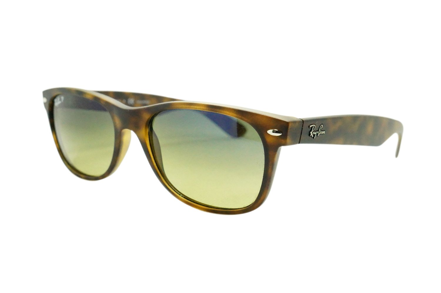 Ray-Ban New Wayfarer Sunglasses RB2132 622/19 Rubber Black Grey Mirror Green 52 18 145