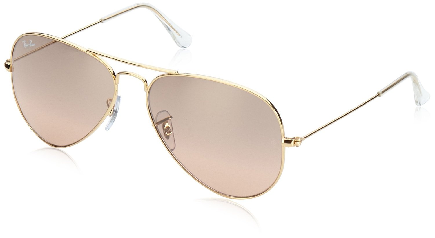 Ray-Ban Men's Aviator Large Metal Aviator Sunglasses, Arista,Crystal Brown & Pink Silver Mirror, 55 mm: Ray-Ban