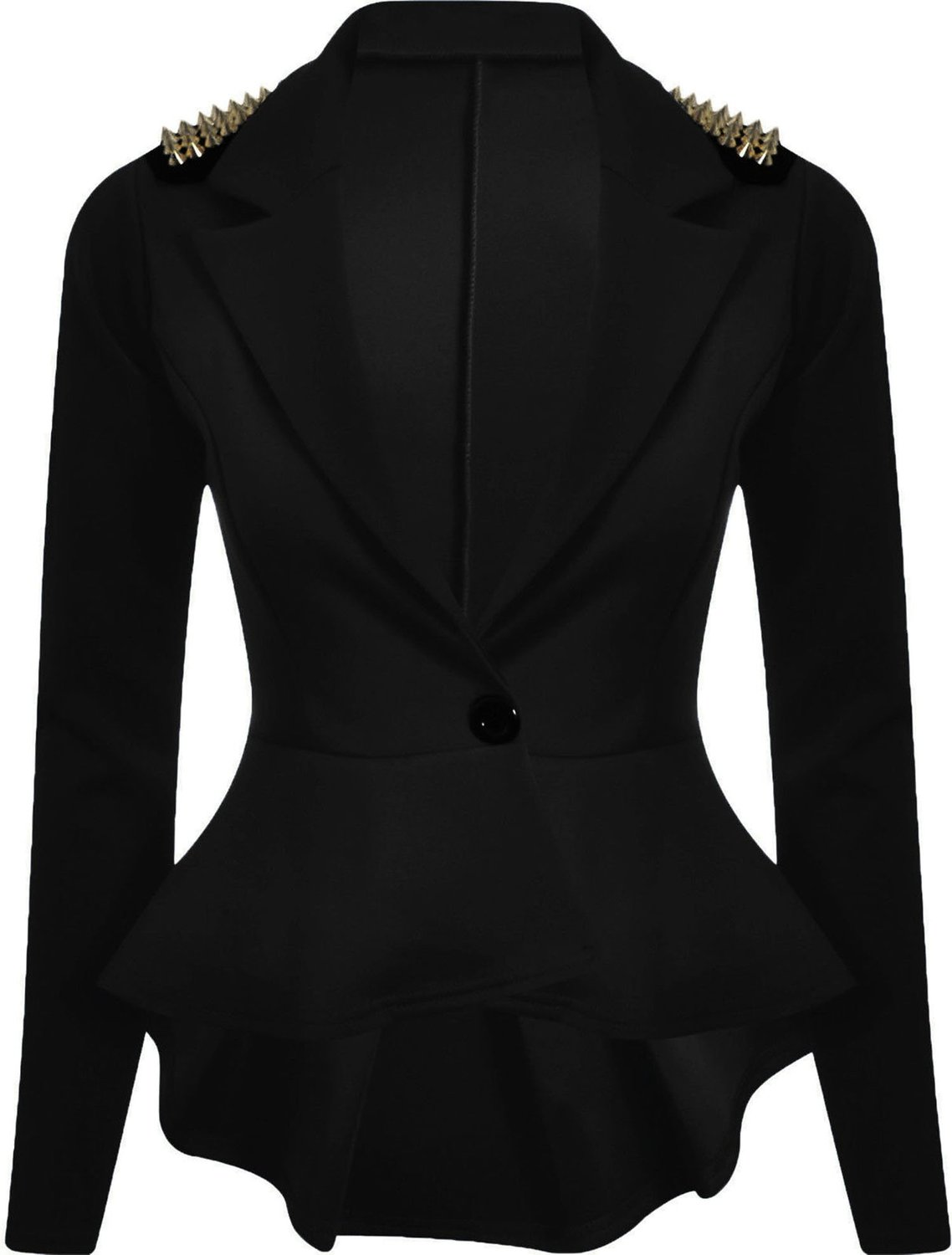 Forever Womens Long Sleeves Plain Spikes Shoulder Peplum Button Blazer at Amazon Women's Clothing store