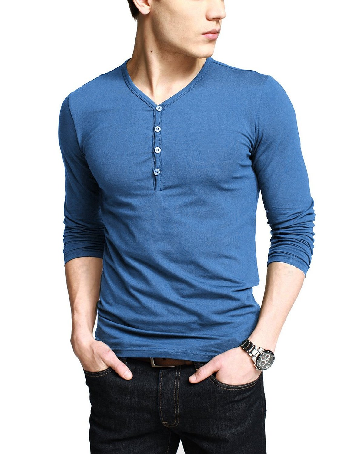 iLoveSIA Mens Henley T-shirts Long Sleeve With Button Placket at Amazon Men's Clothing store