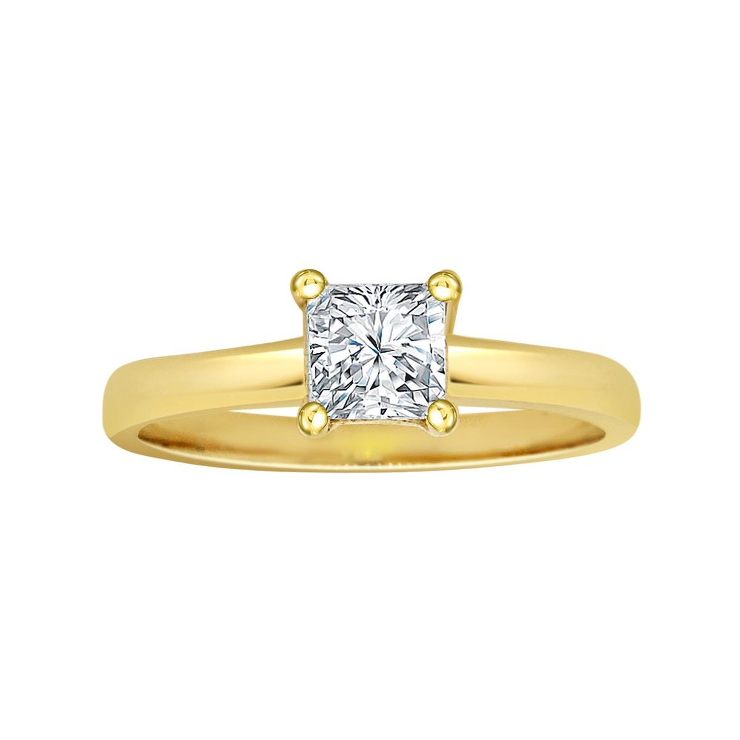 14k Yellow Gold, Solitaire Lady Engagement Wedding Ring Princess Cut Brilliant Created Gem 0.75ct